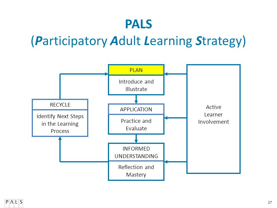 27 PALS (Participatory Adult Learning Strategy) PLAN APPLICATION RECYCLE Active Learner Involvement Reflection and Mastery Practice and Evaluate Intro