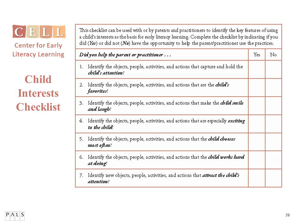 39 Child Interests Checklist Center for Early Literacy Learning