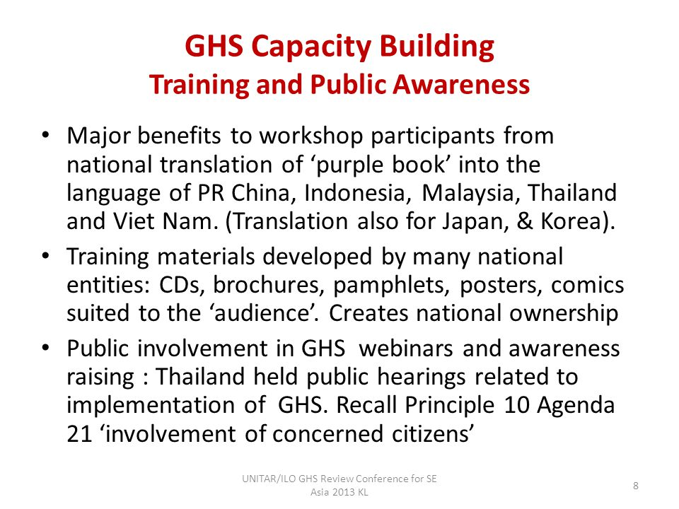 GHS Capacity building Training and Capacity building Workshops 360 participants total in the Four Regional Meetings 1091 trainees in phase II country workshops in year 2011 involving basic and advanced training in PR China, Indonesia, Malaysia, The Philippines, Thailand.