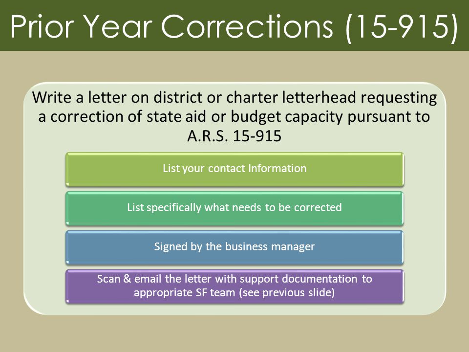 Prior Year Corrections (15-915) Write a letter on district or charter letterhead requesting a correction of state aid or budget capacity pursuant to A.R.S.