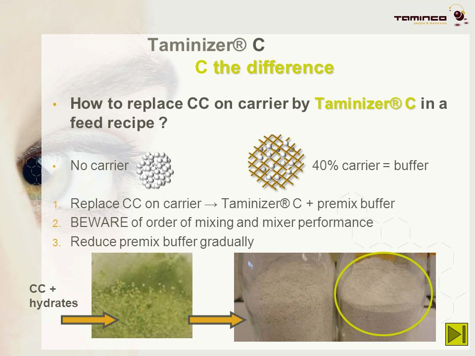 the difference Taminizer® C C the difference Taminizer® C How to replace CC on carrier by Taminizer® C in a feed recipe ? No carrier 40% carrier = buf