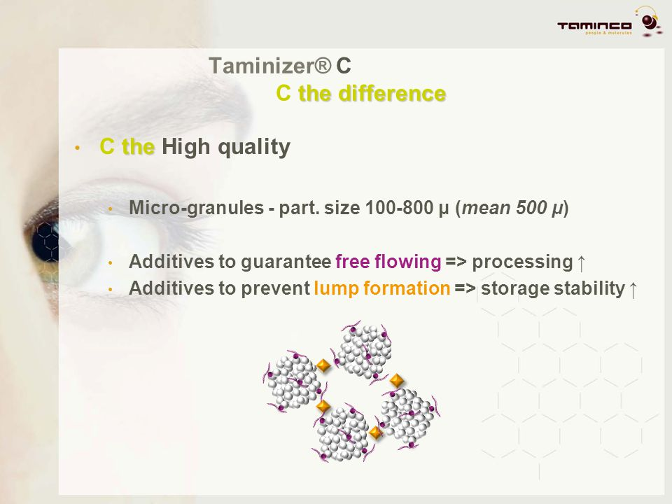 the difference Taminizer® C C the difference the C the High quality Micro-granules - part. size 100-800 μ (mean 500 μ) Additives to guarantee free flo