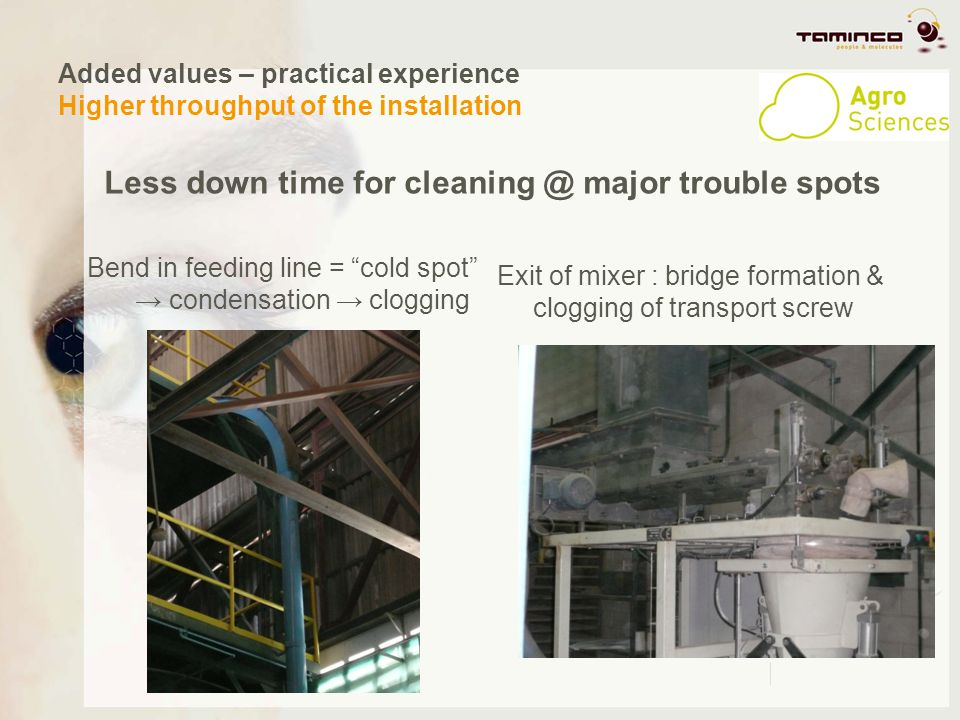 Added values – practical experience Higher throughput of the installation Less down time for cleaning @ major trouble spots Bend in feeding line = col