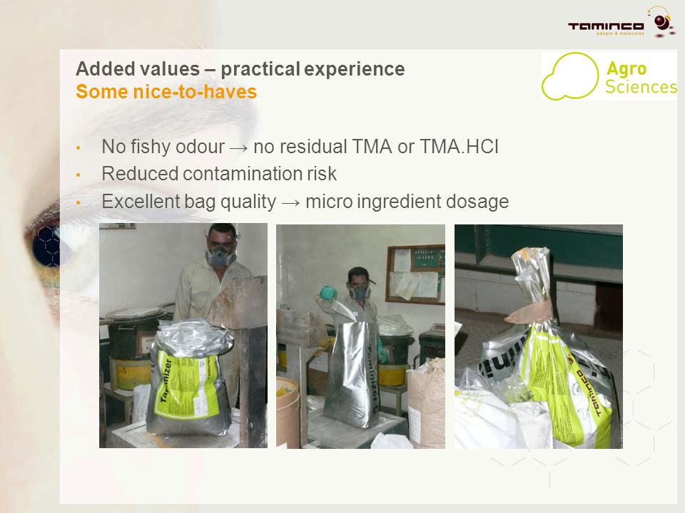 Added values – practical experience Some nice-to-haves No fishy odour no residual TMA or TMA.HCl Reduced contamination risk Excellent bag quality micr