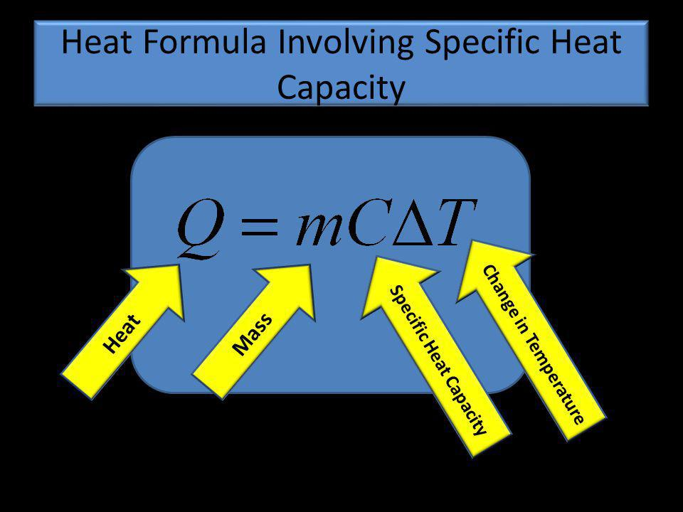 Heat Formula Involving Specific Heat Capacity HeatMass Specific Heat Capacity Change in Temperature