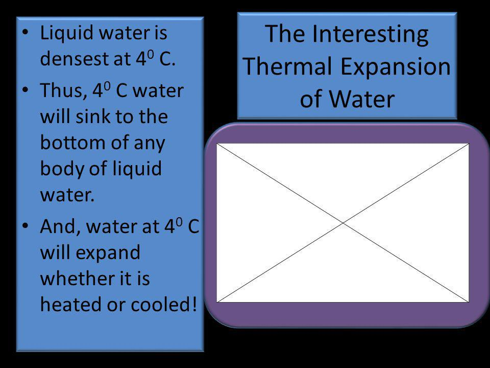 The Interesting Thermal Expansion of Water Liquid water is densest at 4 0 C.