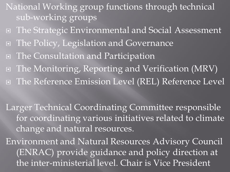 National Working group functions through technical sub-working groups The Strategic Environmental and Social Assessment The Policy, Legislation and Governance The Consultation and Participation The Monitoring, Reporting and Verification (MRV) The Reference Emission Level (REL) Reference Level Larger Technical Coordinating Committee responsible for coordinating various initiatives related to climate change and natural resources.