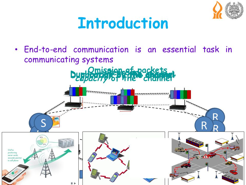 End-to-end communication is an essential task in communicating systems Intromission of errors in message transmission is common Dynamic networks have a greater chance of having errors, like, omission, duplication, reordering, than conventional networks Network has known capacity constant, which is an upper bound on number of packets in the network Introduction S R Omission of packets S R Duplication by the sender S R Duplication by the channel S R Reorder S R capacity of the channel S R capacity packets capacity of the channel
