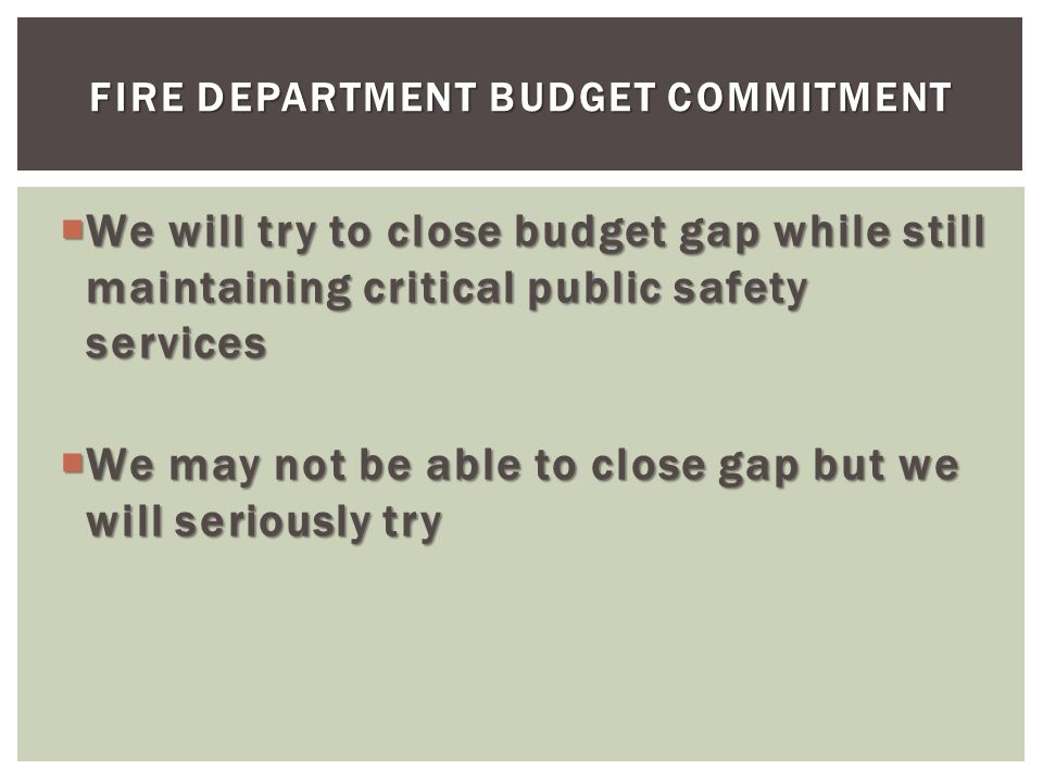 We will try to close budget gap while still maintaining critical public safety services We will try to close budget gap while still maintaining critic