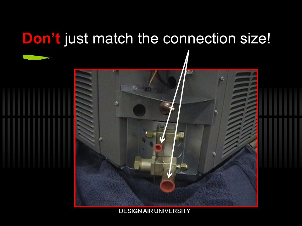 Dont just match the connection size! DESIGN AIR UNIVERSITY
