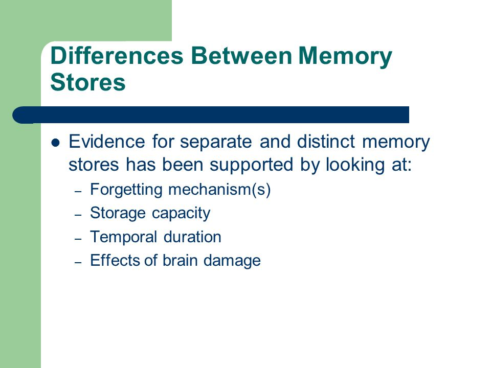 Differences Between Memory Stores Evidence for separate and distinct memory stores has been supported by looking at: – Forgetting mechanism(s) – Stora