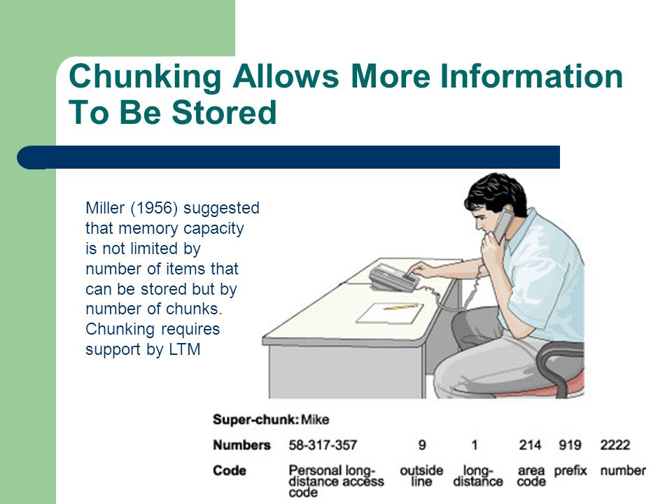 Chunking Allows More Information To Be Stored Miller (1956) suggested that memory capacity is not limited by number of items that can be stored but by number of chunks.