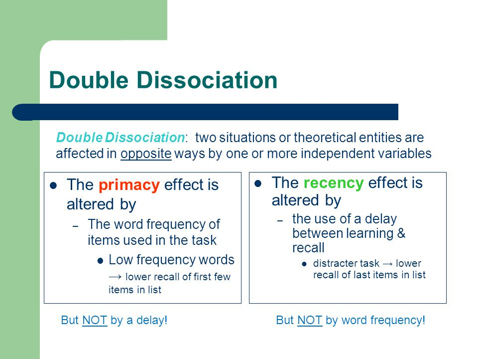 Double Dissociation The primacy effect is altered by – The word frequency of items used in the task Low frequency words lower recall of first few items in list The recency effect is altered by – the use of a delay between learning & recall distracter task lower recall of last items in list Double Dissociation: two situations or theoretical entities are affected in opposite ways by one or more independent variables But NOT by a delay!But NOT by word frequency!