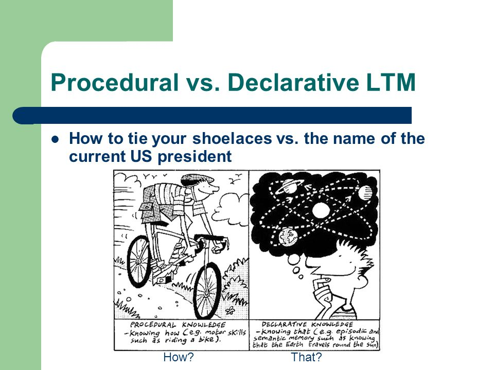 Procedural vs. Declarative LTM How to tie your shoelaces vs. the name of the current US president How?That?
