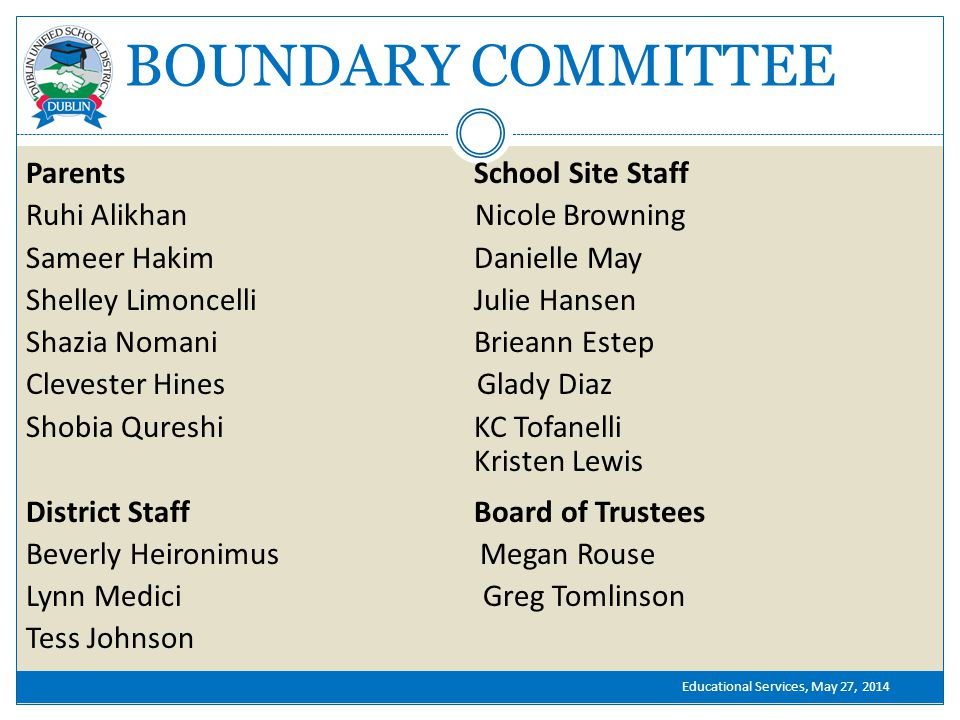 BOUNDARY COMMITTEE Parents School Site Staff Ruhi Alikhan Nicole Browning Sameer Hakim Danielle May Shelley Limoncelli Julie Hansen Shazia Nomani Brieann Estep Clevester Hines Glady Diaz Shobia Qureshi KC Tofanelli Kristen Lewis District Staff Board of Trustees Beverly Heironimus Megan Rouse Lynn Medici Greg Tomlinson Tess Johnson Educational Services, May 27, 2014
