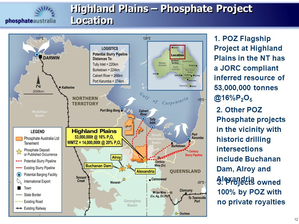 12 Highland Plains – Phosphate Project Location 1.