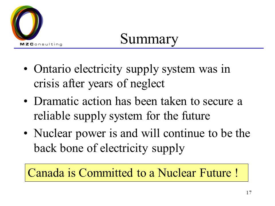 17 Summary Ontario electricity supply system was in crisis after years of neglect Dramatic action has been taken to secure a reliable supply system for the future Nuclear power is and will continue to be the back bone of electricity supply Canada is Committed to a Nuclear Future !