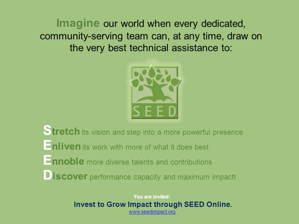 S S tretch its vision and step into a more powerful presence You are invited: Invest to Grow Impact through SEED Online. www.seedimpact.org Imagine Im
