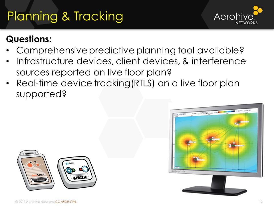 © 2011 Aerohive Networks CONFIDENTIAL 12 Planning & Tracking Questions: Comprehensive predictive planning tool available.