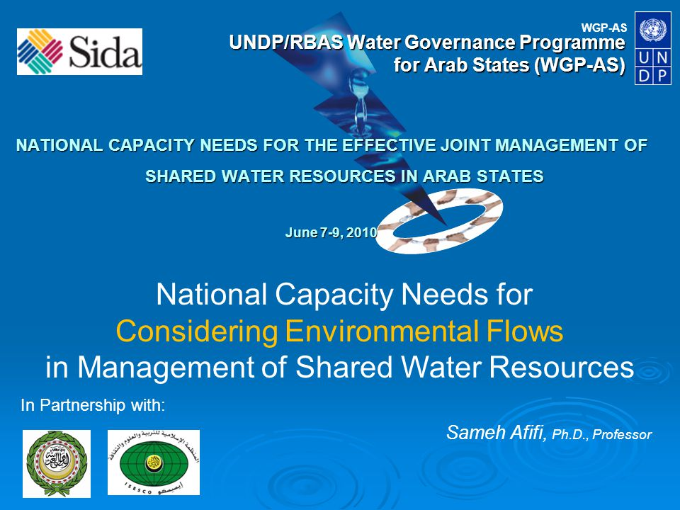 WGP-AS UNDP/RBAS Water Governance Programme for Arab States (WGP-AS) NATIONAL CAPACITY NEEDS FOR THE EFFECTIVE JOINT MANAGEMENT OF SHARED WATER RESOURCES IN ARAB STATES June 7-9, 2010 In Partnership with: National Capacity Needs for Considering Environmental Flows in Management of Shared Water Resources Sameh Afifi, Ph.D., Professor