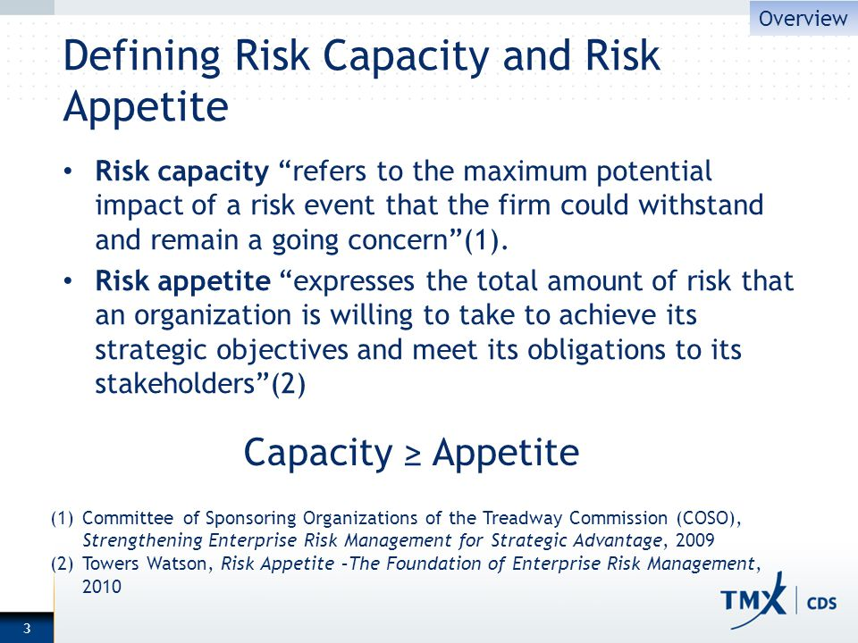 Defining Risk Capacity and Risk Appetite Risk capacity refers to the maximum potential impact of a risk event that the firm could withstand and remain a going concern(1).