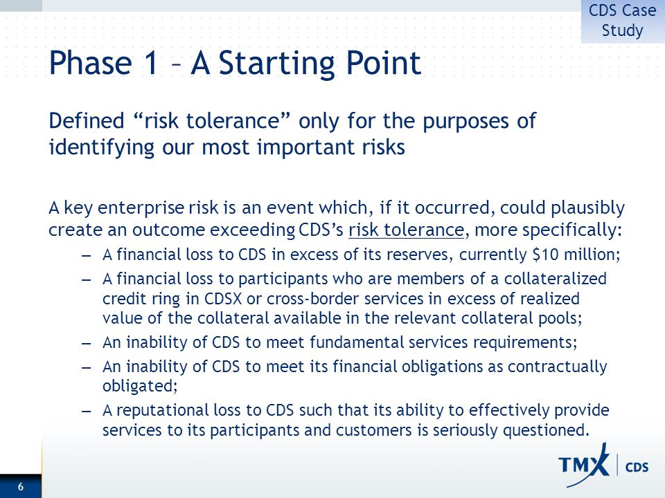Phase 1 – A Starting Point Defined risk tolerance only for the purposes of identifying our most important risks A key enterprise risk is an event which, if it occurred, could plausibly create an outcome exceeding CDSs risk tolerance, more specifically: – A financial loss to CDS in excess of its reserves, currently $10 million; – A financial loss to participants who are members of a collateralized credit ring in CDSX or cross-border services in excess of realized value of the collateral available in the relevant collateral pools; – An inability of CDS to meet fundamental services requirements; – An inability of CDS to meet its financial obligations as contractually obligated; – A reputational loss to CDS such that its ability to effectively provide services to its participants and customers is seriously questioned.