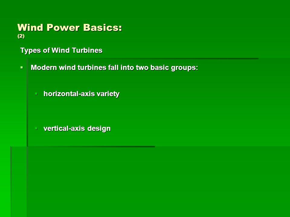 Wind Power Basics: (3) Turbine systems