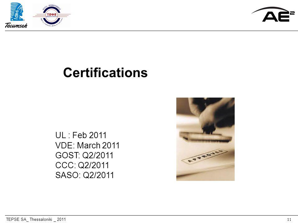 TEPSE SA_ Thessaloniki _ 201111 Certifications UL : Feb 2011 VDE: March 2011 GOST: Q2/2011 CCC: Q2/2011 SASO: Q2/2011