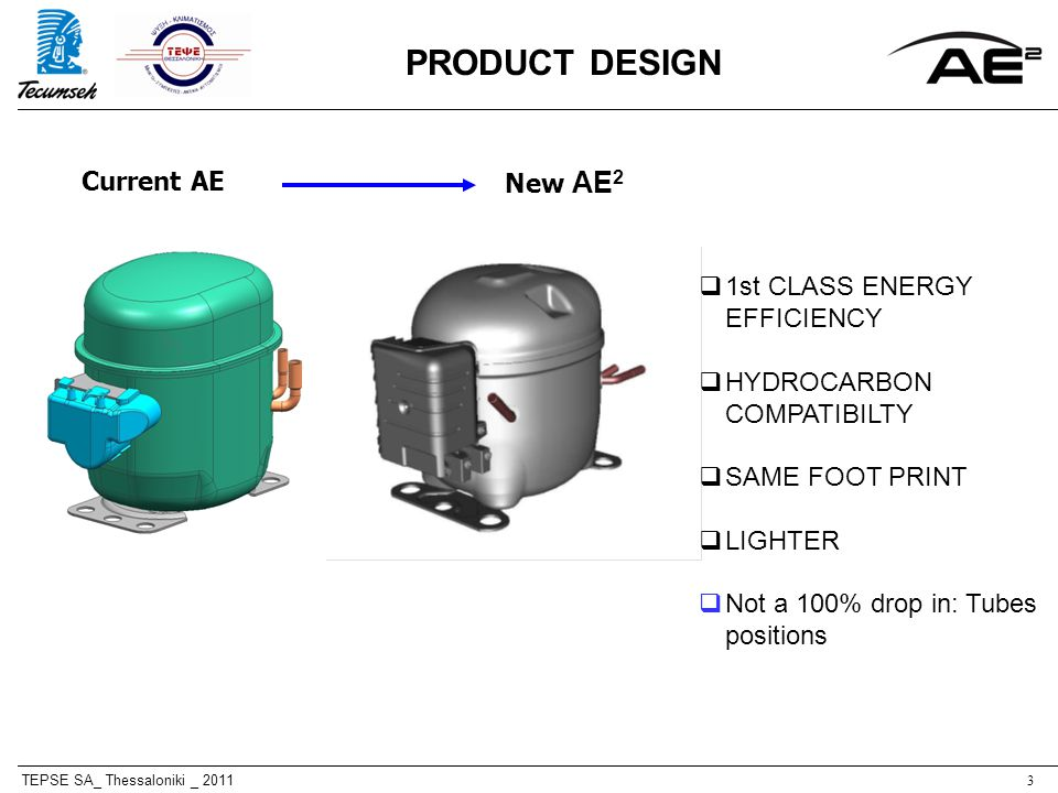 TEPSE SA_ Thessaloniki _ 20113 Current AE New AE 2 PRODUCT DESIGN 1st CLASS ENERGY EFFICIENCY HYDROCARBON COMPATIBILTY SAME FOOT PRINT LIGHTER Not a 100% drop in: Tubes positions