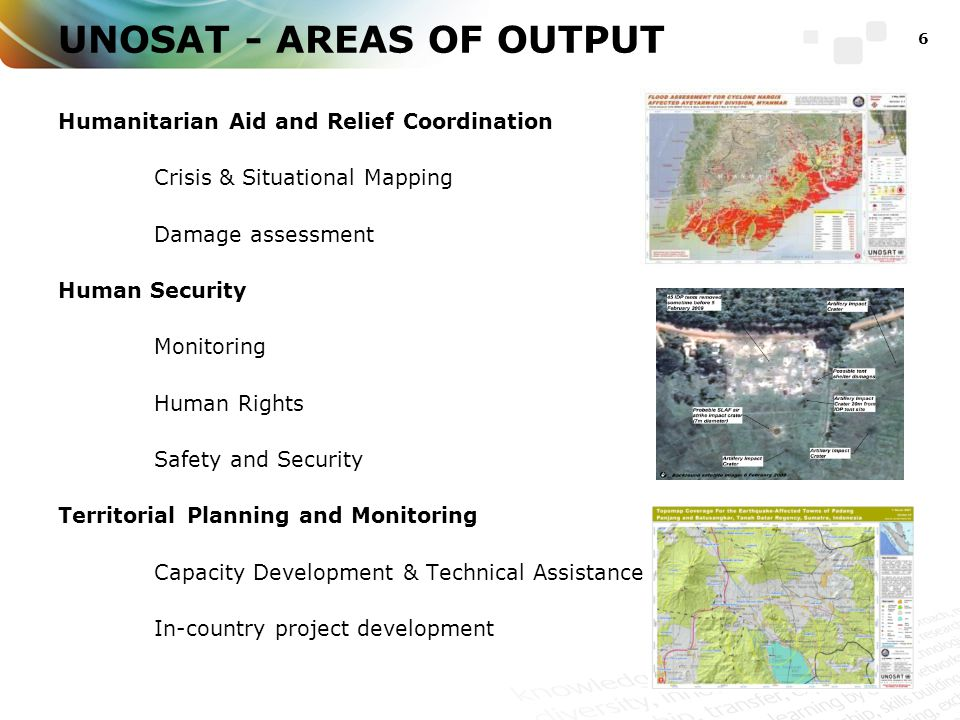 UNOSAT - AREAS OF OUTPUT Humanitarian Aid and Relief Coordination Crisis & Situational Mapping Damage assessment Human Security Monitoring Human Rights Safety and Security Territorial Planning and Monitoring Capacity Development & Technical Assistance In-country project development 6
