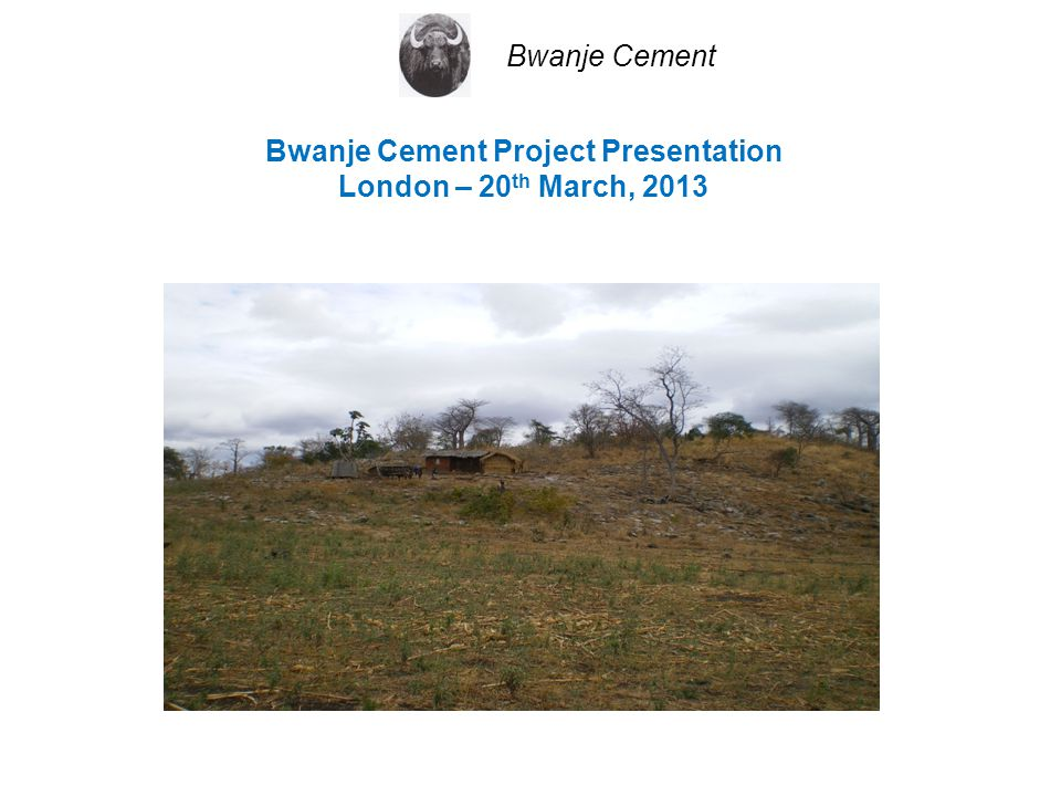 Bwanje Cement Project Presentation London – 20 th March, 2013 Bwanje Cement