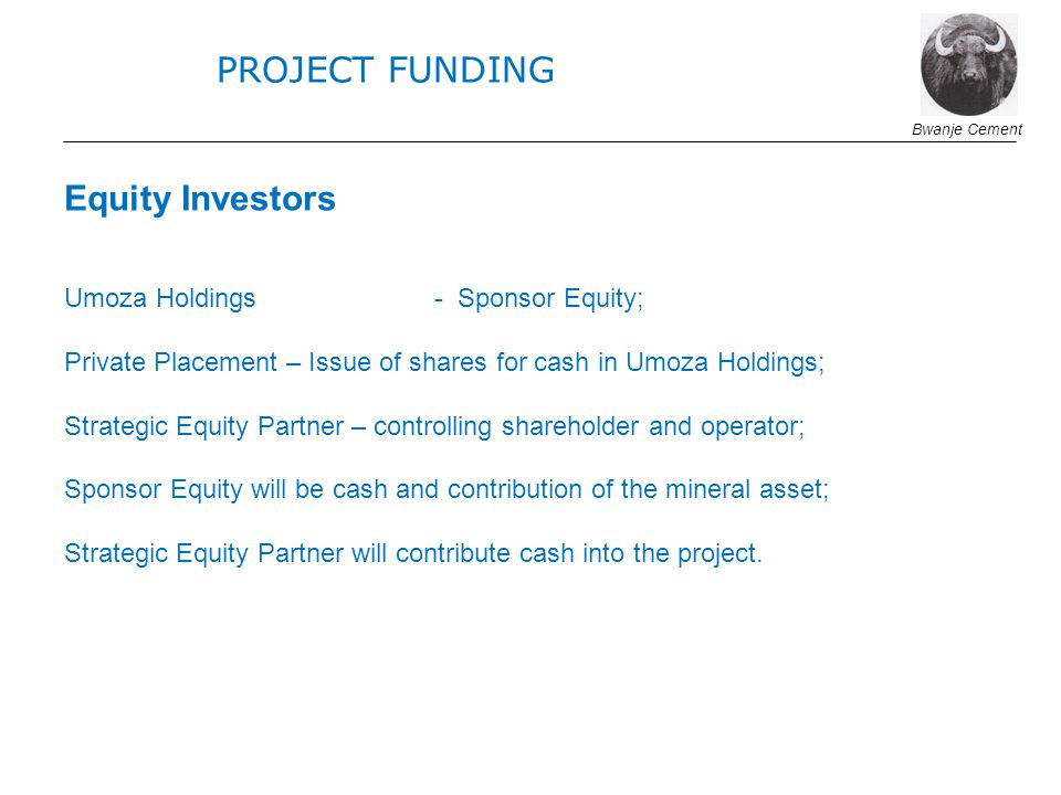 Equity Investors Umoza Holdings - Sponsor Equity; Private Placement – Issue of shares for cash in Umoza Holdings; Strategic Equity Partner – controlling shareholder and operator; Sponsor Equity will be cash and contribution of the mineral asset; Strategic Equity Partner will contribute cash into the project.