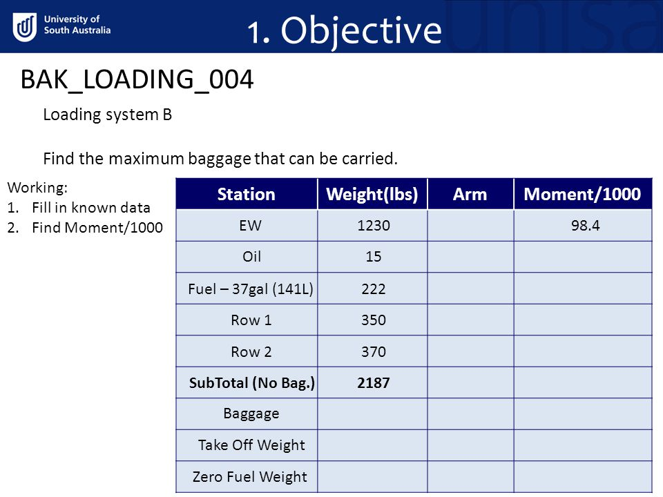 1. Objective BAK_LOADING_004 Loading system B Find the maximum baggage that can be carried.