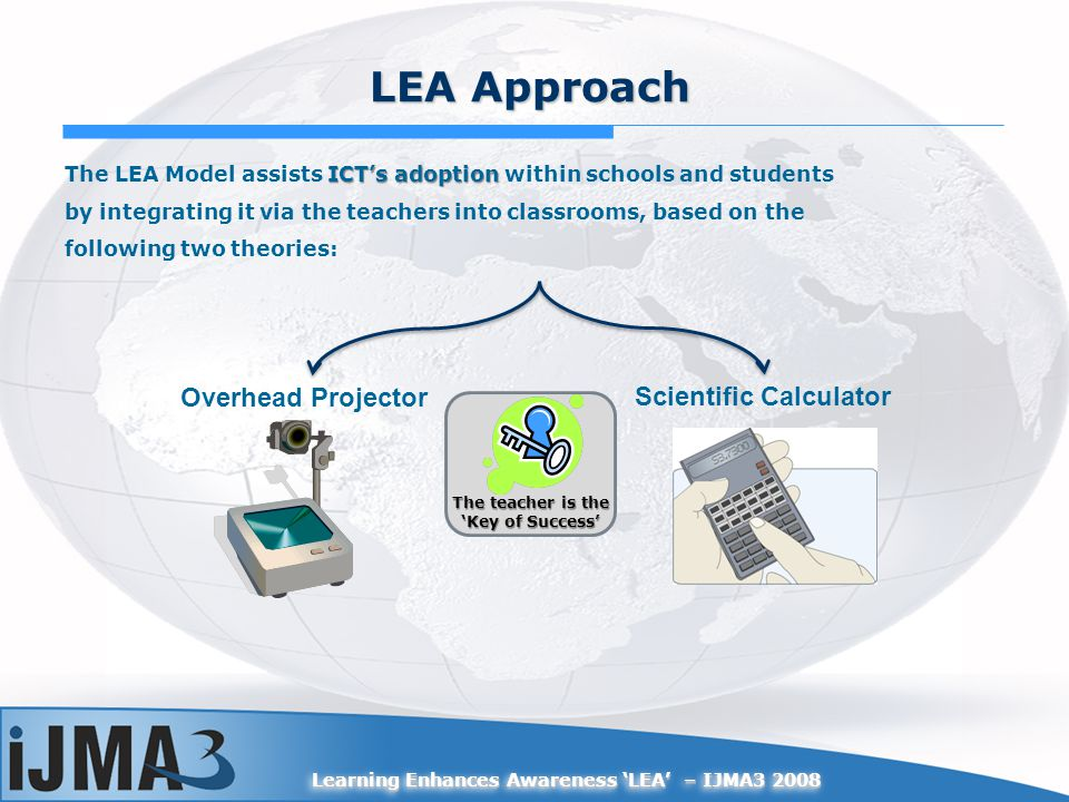 Learning Enhances Awareness LEA – IJMA3 2008 LEA Approach Overhead Projector Scientific Calculator ICTs adoption The LEA Model assists ICTs adoption within schools and students by integrating it via the teachers into classrooms, based on the following two theories: The teacher is the Key of Success