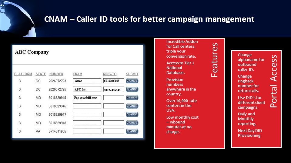 CNAM – Caller ID tools for better campaign management Portal Access Features Incredible Addon for Call centers, triple your conversion rate.