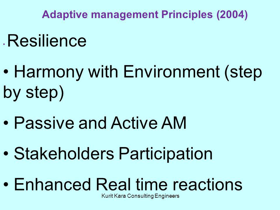Kurit Kara Consulting Engineers Adaptive management Principles (2004) Resilience Harmony with Environment (step by step) Passive and Active AM Stakeho