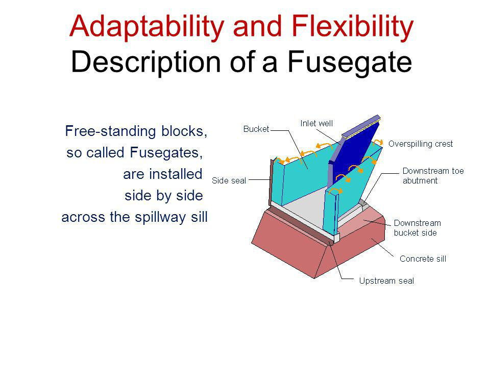 Free-standing blocks, so called Fusegates, are installed side by side across the spillway sill Adaptability and Flexibility Description of a Fusegate
