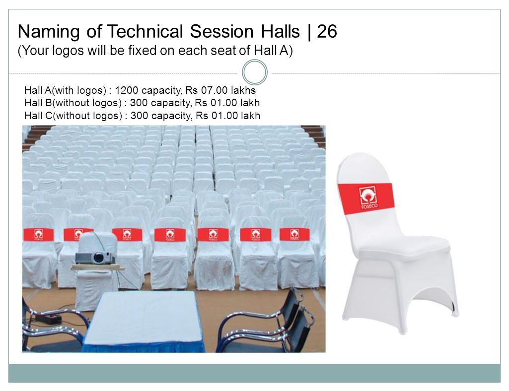 Naming of Technical Session Halls | 26 (Your logos will be fixed on each seat of Hall A) Hall A(with logos) : 1200 capacity, Rs 07.00 lakhs Hall B(without logos) : 300 capacity, Rs 01.00 lakh Hall C(without logos) : 300 capacity, Rs 01.00 lakh