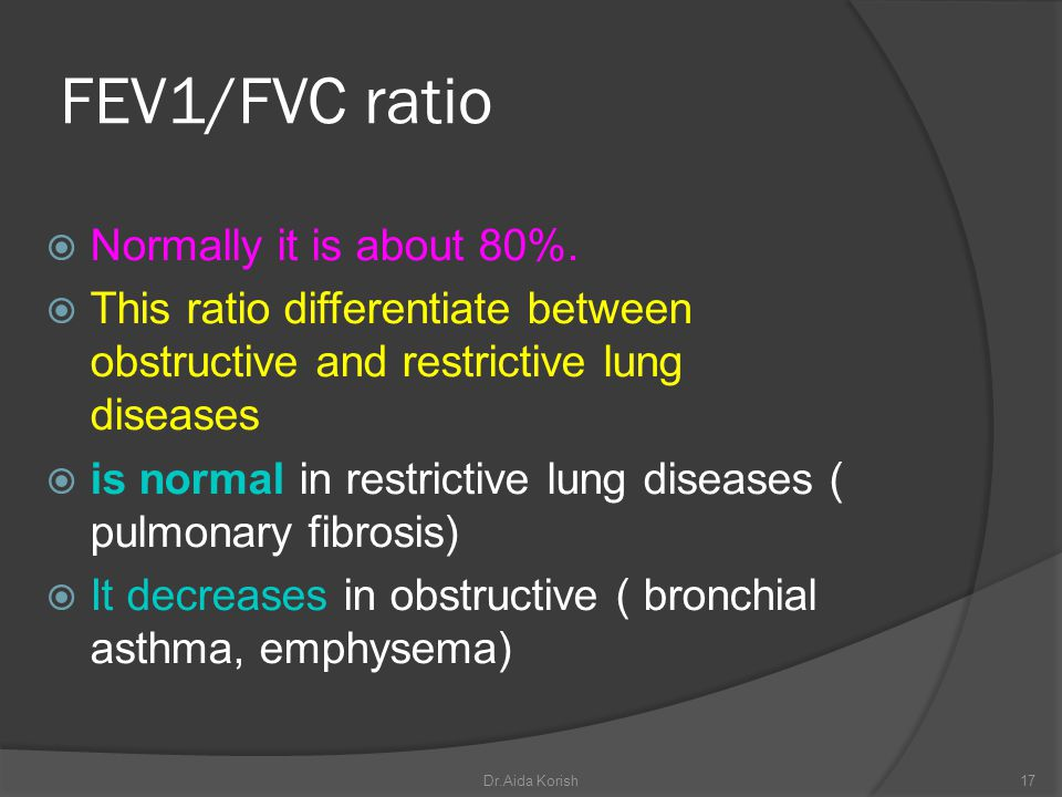 FEV1/FVC ratio Normally it is about 80%. This ratio differentiate between obstructive and restrictive lung diseases is normal in restrictive lung dise