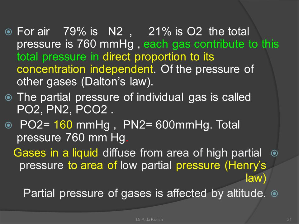 For air 79% is N2, 21% is O2 the total pressure is 760 mmHg, each gas contribute to this total pressure in direct proportion to its concentration inde