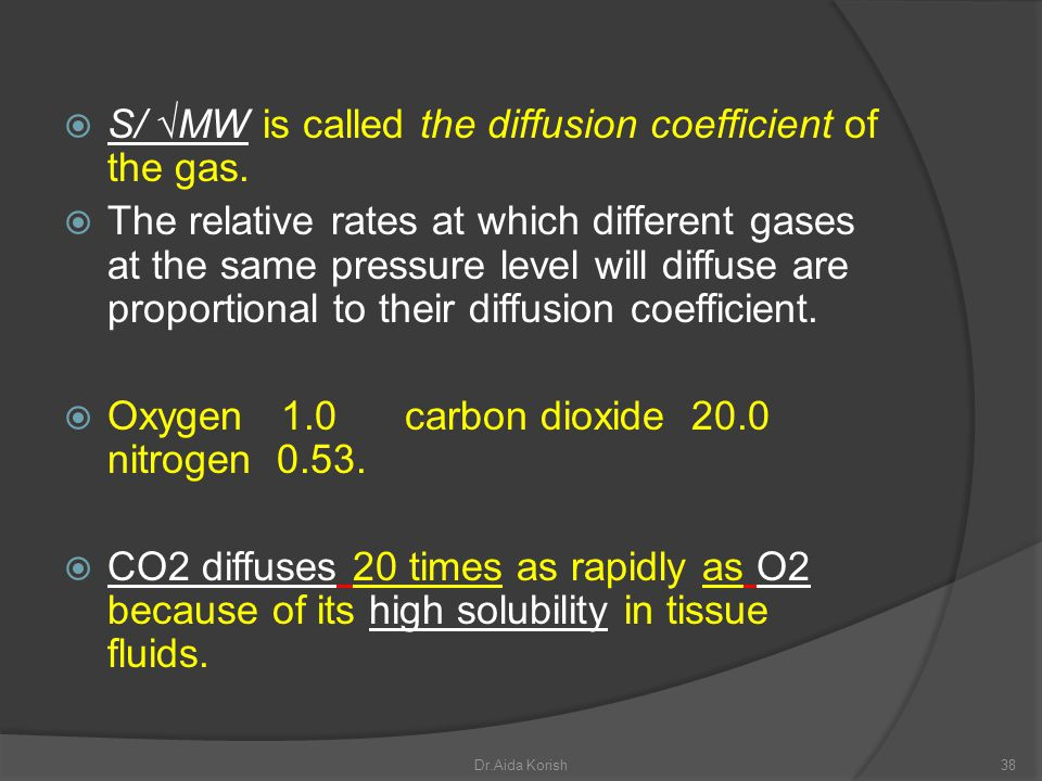 S/ MW is called the diffusion coefficient of the gas. The relative rates at which different gases at the same pressure level will diffuse are proporti