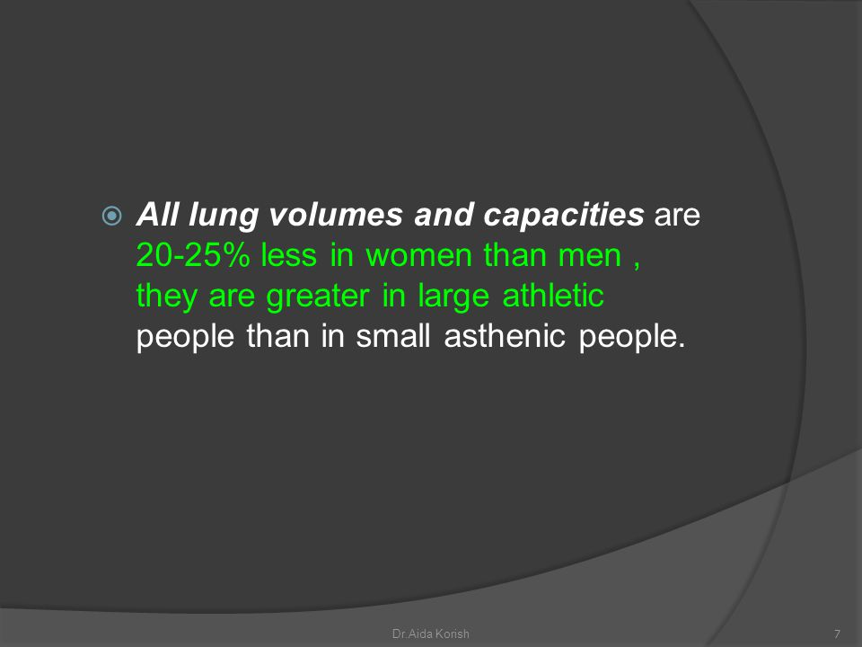 All lung volumes and capacities are 20-25% less in women than men, they are greater in large athletic people than in small asthenic people. 7Dr.Aida K