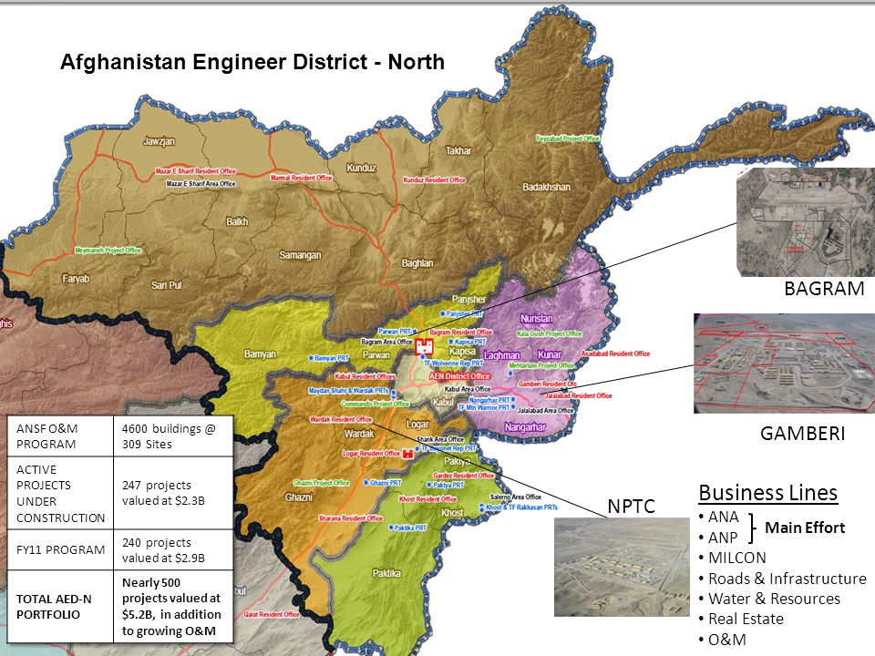 BUILDING STRONG ® 4 Overview The districts program is comprised of five programs, including the Afghanistan National Army, the Afghanistan National Police, Military Construction, Operations & Maintenance and Infrastructure & Planning.