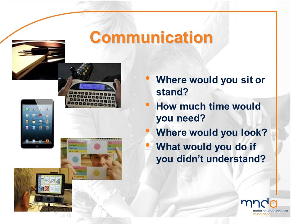 Communication Where would you sit or stand? How much time would you need? Where would you look? What would you do if you didnt understand?