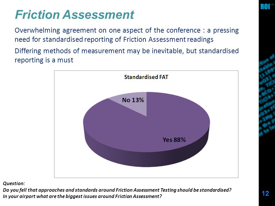 12 Friction Assessment Question: Do you fell that approaches and standards around Friction Assessment Testing should be standardised.