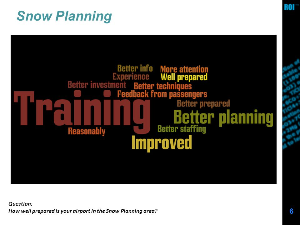 6 Snow Planning Question: How well prepared is your airport in the Snow Planning area