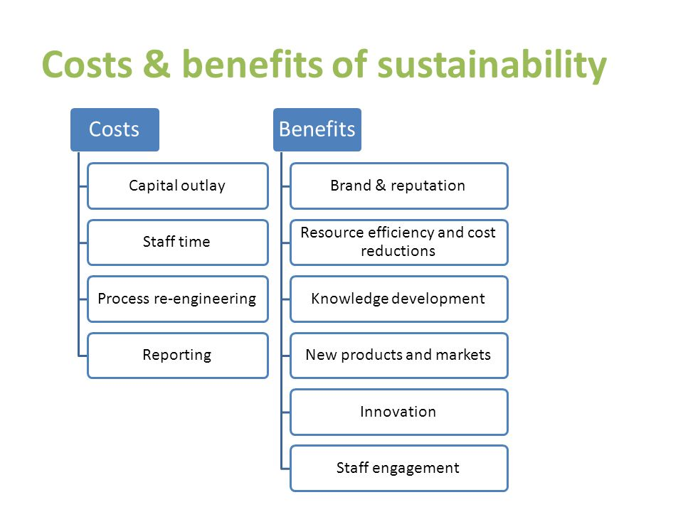 Costs & benefits of sustainability Costs Capital outlayStaff timeProcess re-engineeringReporting Benefits Brand & reputation Resource efficiency and cost reductions Knowledge developmentNew products and marketsInnovationStaff engagement