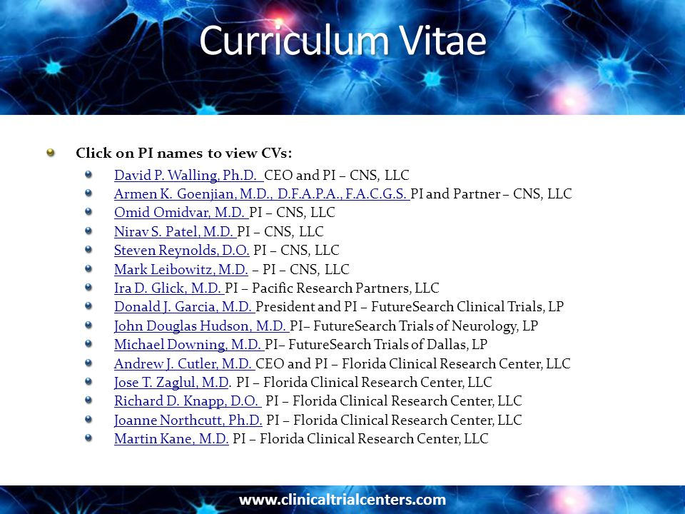 Curriculum Vitae Click on PI names to view CVs: David P.