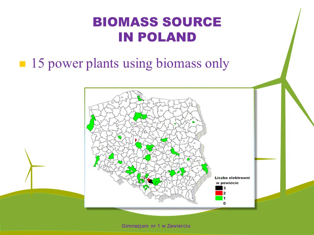 BIOMASS SOURCE IN POLAND 15 power plants using biomass only Gimnazjum nr 1 w Zawierciu
