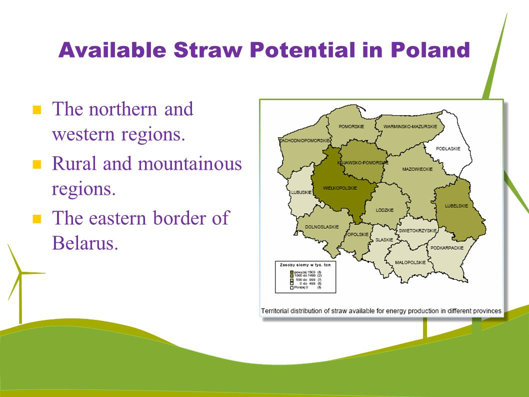 Available Straw Potential in Poland The northern and western regions. Rural and mountainous regions. The eastern border of Belarus.